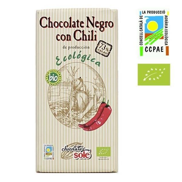 Foto de Chocolate Negro 73% con chili eco 100gr