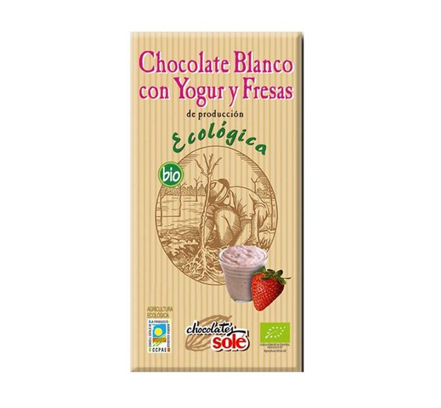 Foto de Chocolate Blanco con Yogur y Fresas eco 100gr