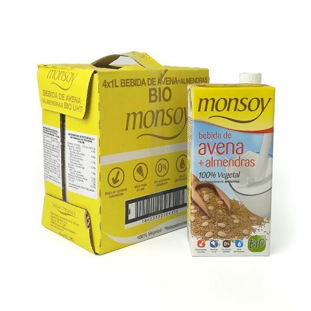 Foto de Caja de bebida de avena y almendra Monsoy eco 4 ud