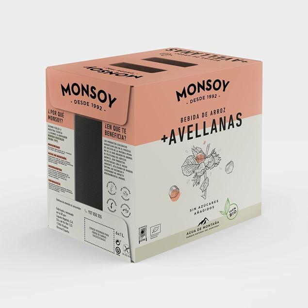 Foto de Caja de bebida de arroz y avellanas Monsoy eco 6 ud